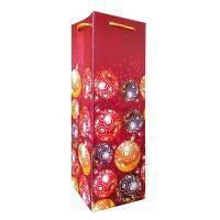 Non-branded Пакет бумажный бутылочный, Новогодние шарики, размер 12 x 36 x 12 см.