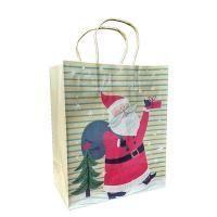 Non-branded Пакет бумажный подарочный, Дед Мороз с мешком и елкой, размер 20 x 24 x 11,5 см.