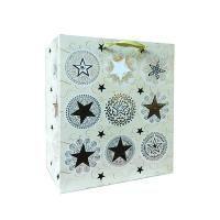 Non-branded Пакет бумажный подарочный, Звезды, тиснение фольгой, размер 20 x 24 x 11,5 см.