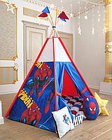 Детская палатка вигвам с ковриком и подушками человек паук
