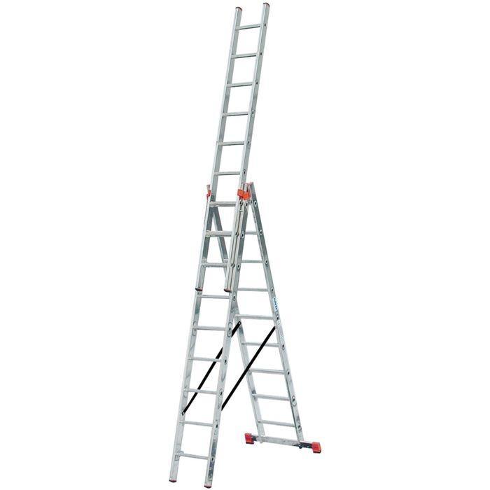 Лестница KRAUSE MONTO TRIBILO, трехсекционная, с траверсой, 10 ступеней