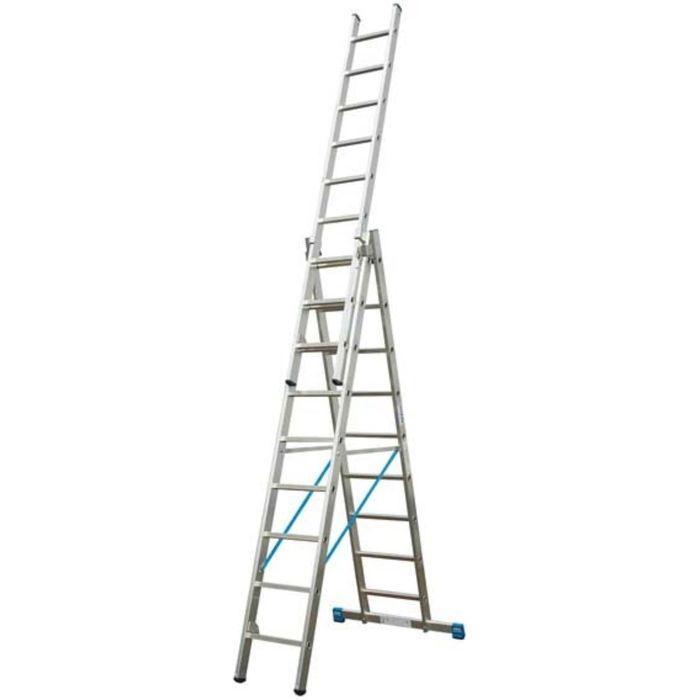 Лестница KRAUSE STABILO, трехсекционная, с траверсой, с доп. функцией, 9 ступеней