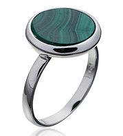 Серебряное кольцо с натуральным камнем. Вставка: малахит, вес: 3гр, размер: 16,5, покрытие родий