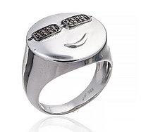 """Серебряное кольцо """"Смайлик"""" из коллекции """"Smile"""". Вставка: коричневые фианиты, вес: 6,2 гр, размер:"""