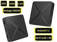 Компактная Android 7.1 TV приставка с памятью 2GB/16GB на 4-х ядерном процессоре Amlogic S905W, модель T96 C