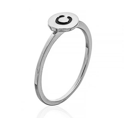 """Серебряное кольцо с буквой """"С"""" (кольцо буква)  из коллекции """"Буквы"""". Вес:0,75 гр, размер:14,5, покры"""