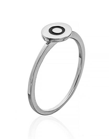 """Серебряное кольцо с буквой """"О"""" (кольцо буква)  """"Буквы"""". Вес: 0,76 гр, размер: 15, покрытие родий"""