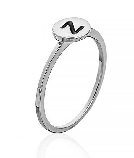"""Серебряное кольцо с буквой """"Z"""" (кольцо буква) """"Буквы"""". Вес: 0,90 гр, размер: 16, покрытие родий"""
