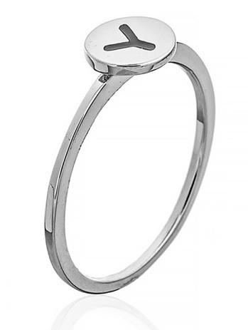 """Серебряное кольцо с буквой """"Y"""" (кольцо буква)   """"Буквы"""". Вес: 0,90 гр, размер: 16, покрытие родий"""