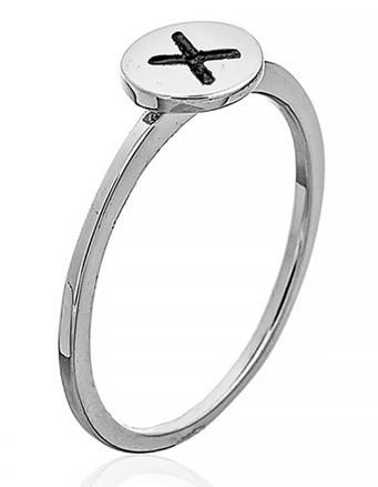 """Серебряное кольцо с буквой """"X"""" (кольцо буква)   """"Буквы"""". Вес: 0,94 гр, размер: 17, покрытие родий"""