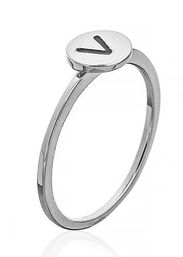 """Серебряное кольцо с буквой """"V"""" (кольцо буква)  """"Буквы"""".Вес: 0,75 гр, размер: 13,5, покрытие родий"""