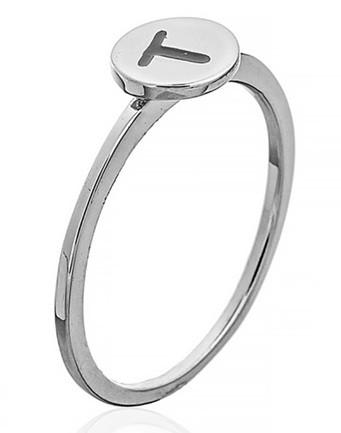 """Серебряное кольцо с буквой """"T"""" (кольцо буква)  """"Буквы"""". Вес: 0,90 гр, размер: 16, покрытие родий"""