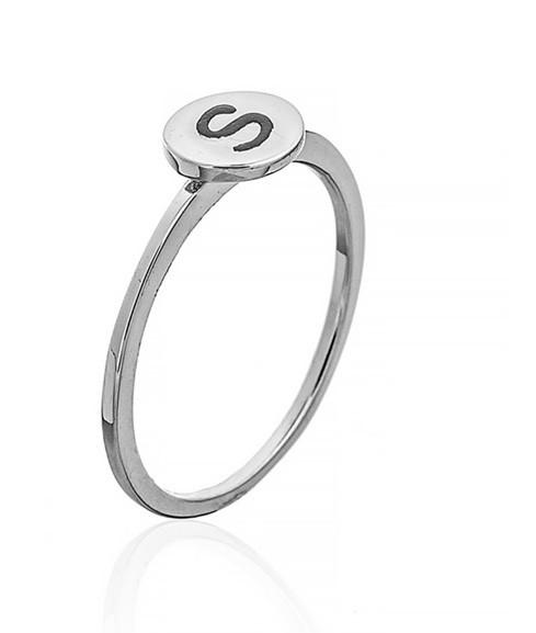 """Серебряное кольцо с буквой """"S"""" (кольцо буква) """"Буквы"""". Вес:0,90 гр, размер:16, покрытие родий"""