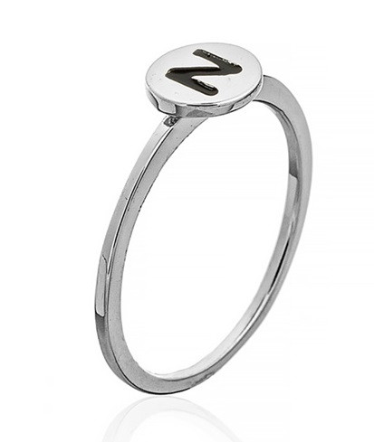 """Серебряное кольцо с буквой """"N"""" (кольцо буква) """"Буквы"""". Вес: 0,75 гр, размер:16,5, покрытие родий"""