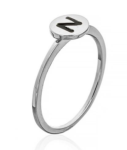 """Серебряное кольцо с буквой """"N"""" (кольцо буква) """"Буквы"""". Вес:0,75 гр, размер: 14,5, покрытие родий"""