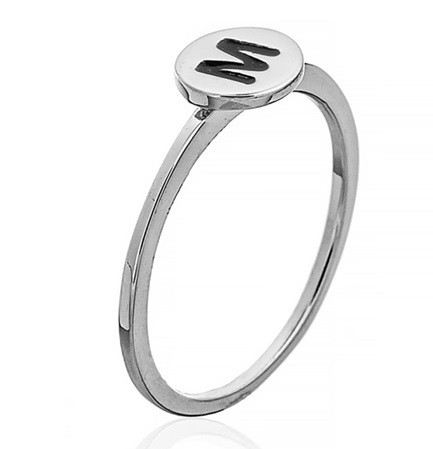 """Серебряное кольцо с буквой """"M"""" (кольцо буква) """"Буквы"""". Вес:0,75 гр, размер: 15,5, покрытие родий"""