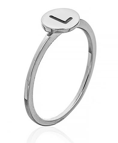 """Серебряное кольцо с буквой """"L"""" (кольцо буква)   """"Буквы"""". Вес: 0,75 гр, размер: 16, покрытие родий"""