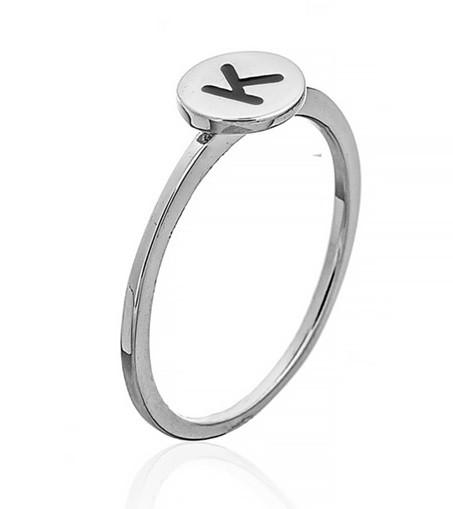 """Серебряное кольцо с буквой """"K"""" (кольцо буква)   """"Буквы"""". Вес: 0,75 гр, размер: 17, покрытие родий"""