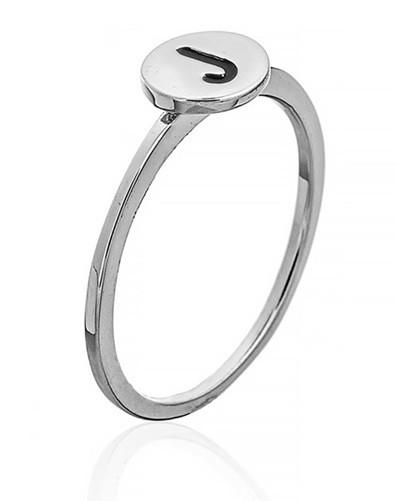 """Серебряное кольцо с буквой """"J"""" (кольцо буква)  """"Буквы"""". Вес: 0,76 гр, размер: 17, покрытие родий"""