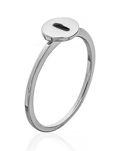 """Серебряное кольцо с буквой """"I"""" (кольцо буква)  """"Буквы"""". Вес: 0,75 гр, размер: 15, покрытие родий"""