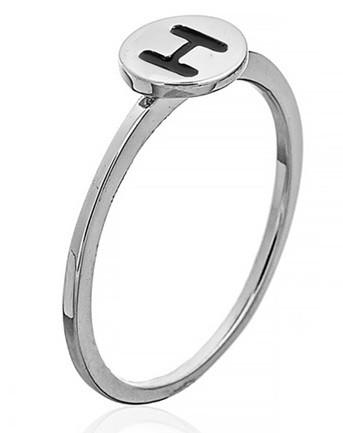 """Серебряное кольцо с буквой """"H"""" (кольцо буква)   """"Буквы"""". Вес: 0,75 гр, размер: 16, покрытие родий"""