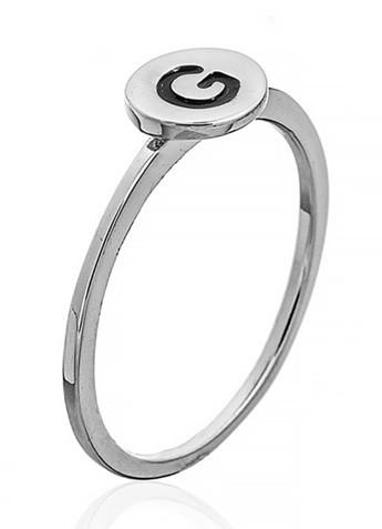 """Серебряное кольцо с буквой """"G"""" (кольцо буква)   """"Буквы"""". Вес: 0,75 гр, размер: 15, покрытие родий"""