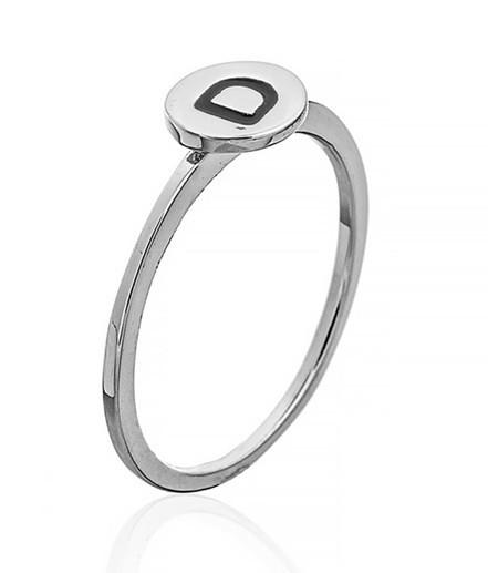 """Серебряное кольцо с буквой """"D"""" (кольцо буква)   """"Буквы"""". Вес: 0,75 гр, размер: 15, покрытие родий"""