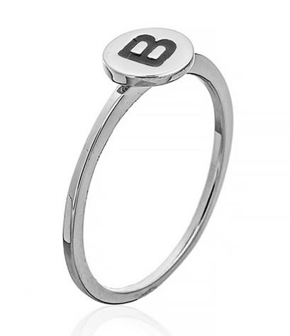 """Серебряное кольцо с буквой """"B"""" (кольцо буква) """"Буквы"""". Вес:0,75 гр, размер: 15,5, покрытие родий"""