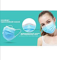 Маска медицинская лицевая одноразовая нестериальная трехслойная на резинках, фото 1