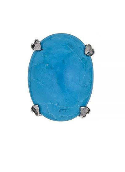 Серебряное кольцо с бирюзой. Вес: 14,8, размер: 18, покрытие родий