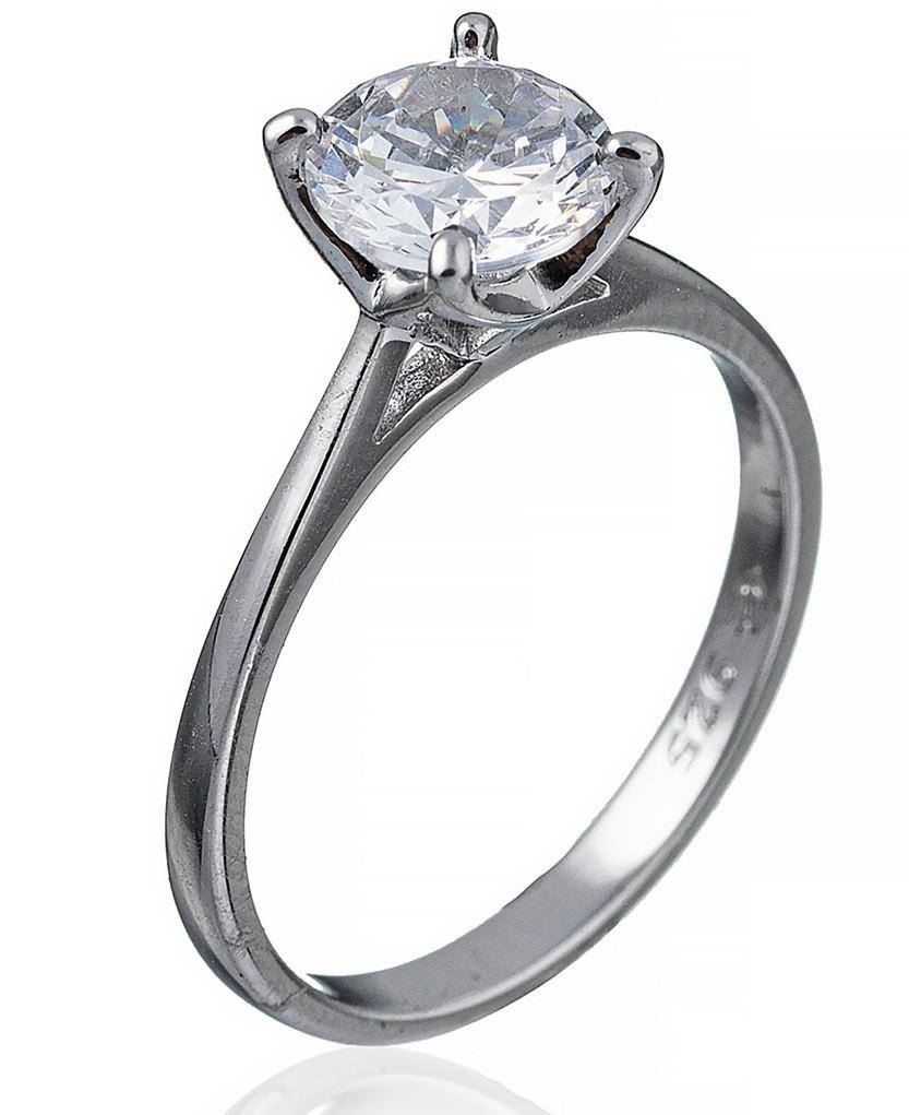 """Серебряное кольцо """"Мерцание"""" (помолвочное). Вставка:белый фианит, вес: 2,2 гр, размер: 15, покрытие"""
