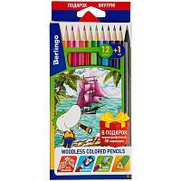 """Карандаши цветные пластиковые Berlingo """"Корабли"""", 12цв.+1 ч/г HB, заточен., картон, европодвес"""