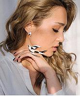 Серебряное кольцо Ласточка. Вставка: черно-белая эмаль, фианит, размер: 17, вес: 27,7 гр