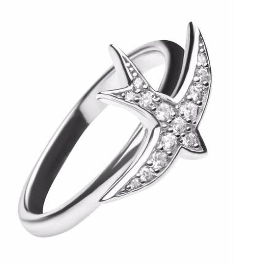 Серебряное кольцо Ласточка. Вставка: фианит белый, вес: 2,6 гр, покрытие родий, размер: 17
