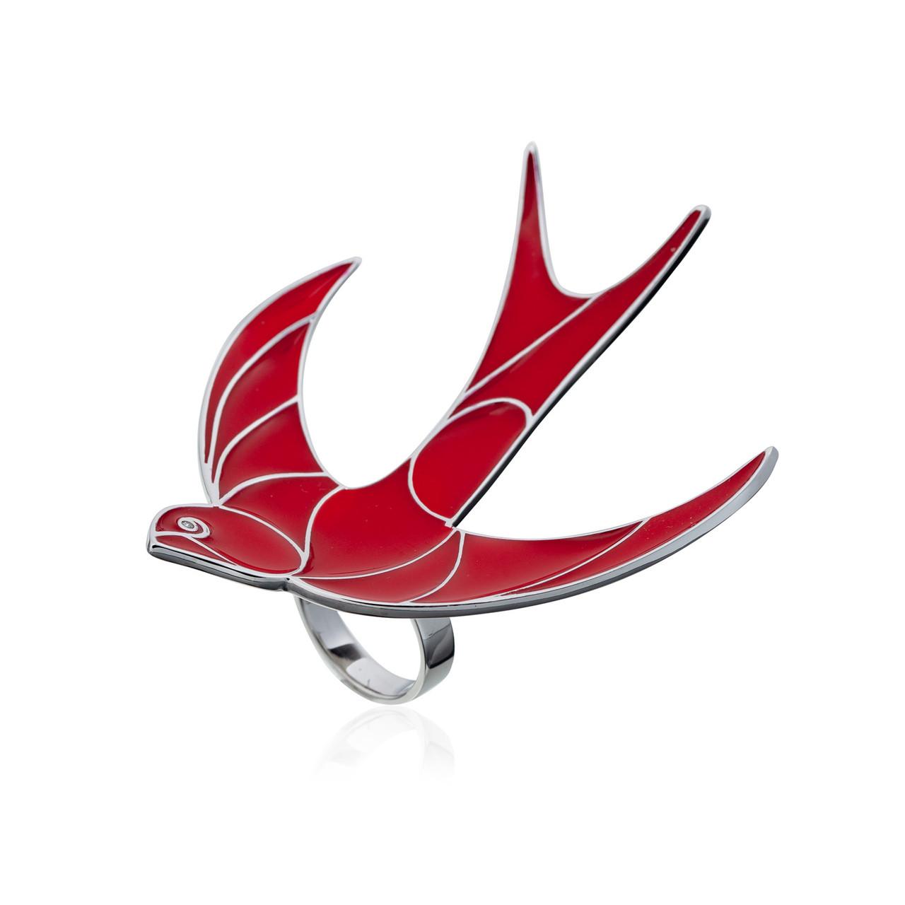 Серебряное кольцо Ласточка, вставка красная эмаль, фианит, размер: 18 рр, вес: 26 гр, покрытие родий