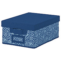 Коробка с крышкой СТОРСТАББЕ синий 25x35x15 см ИКЕА, IKEA, фото 1