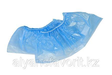 Бахилы одноразовые синие 10 микр.- тонкие (стандарт), фото 2