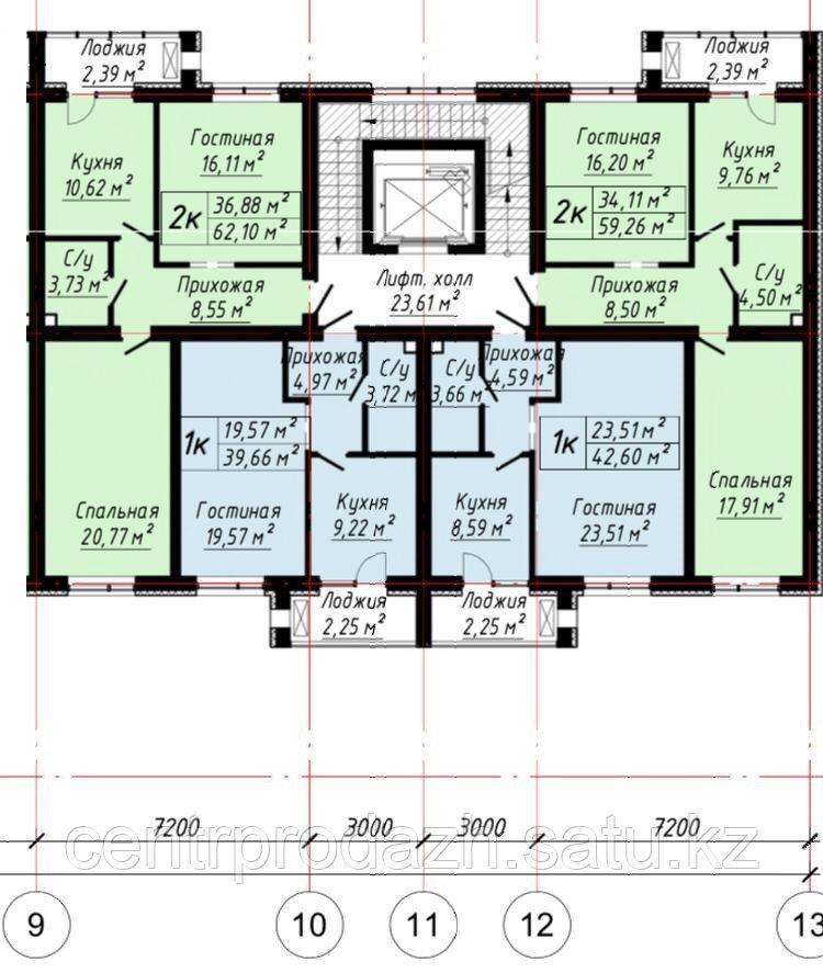 2 ком в ЖК «The House». 59.26 м²