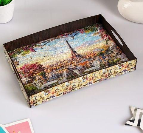 Поднос коллекционный из дерева с ручками (Франция)