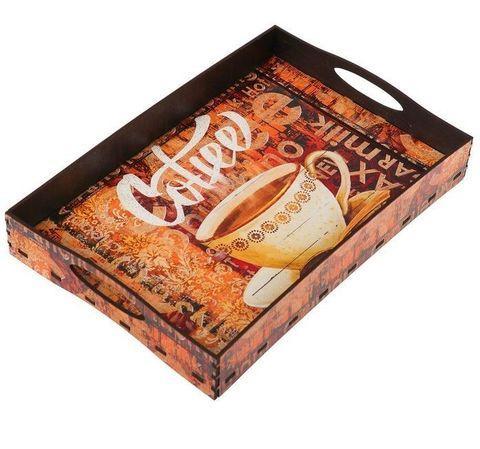 Поднос коллекционный из дерева с ручками (Coffee)