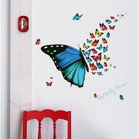 Наклейка пластик интерьерная 'Полёт бабочек' 30х60 см