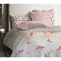 КПБ 'Фламинго', евро, размер 215 x 240 см, 200 x 220 см, 50 x 70 см - 2 шт., ранфорс