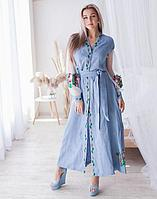Платье Троянди лён голубой+сетка