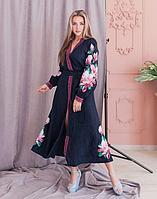 Платье Магнолія лен темно-синий