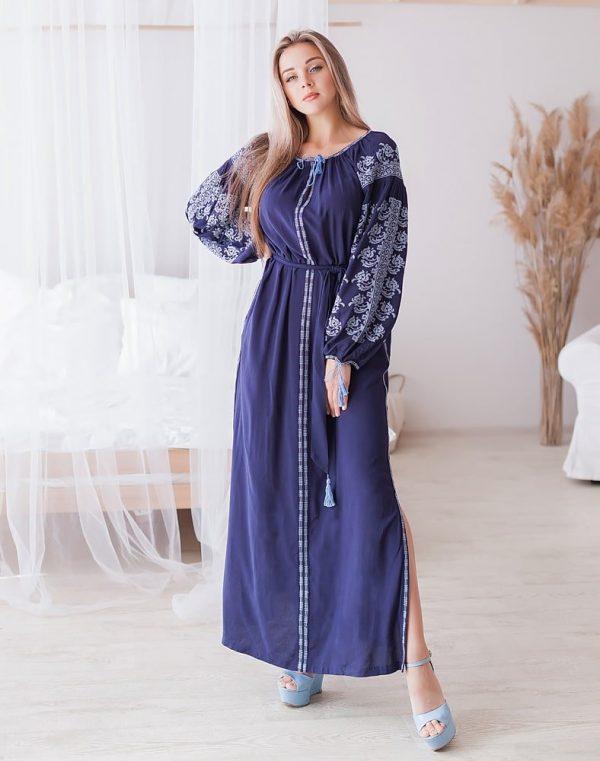 Платье Лілея поплин синий - фото 1