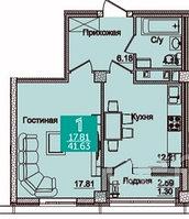 1 комнатная квартира в ЖК Олимпийский 41.67 м², фото 1