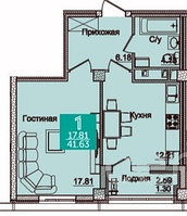 1 комнатная квартира в ЖК Олимпийский 41.67 м²