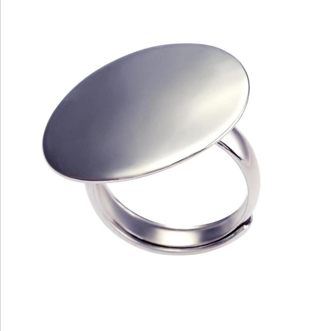 """Серебряное кольцо """"Круглое-зеркальное"""". Вес: 6 гр, размер: 16 + регулируемый, покрытие родий"""