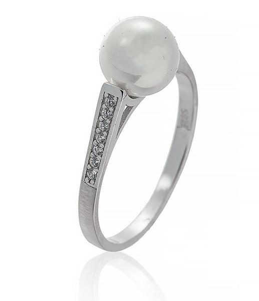 """Серебряное кольцо """" Классика""""с дорожкой из  фианитов и жемчугом. Размер: 19. Вставка: фианиты, культ"""