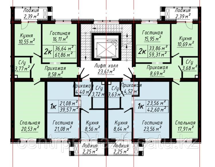 2 ком в ЖК  «The House». 61.86 м²